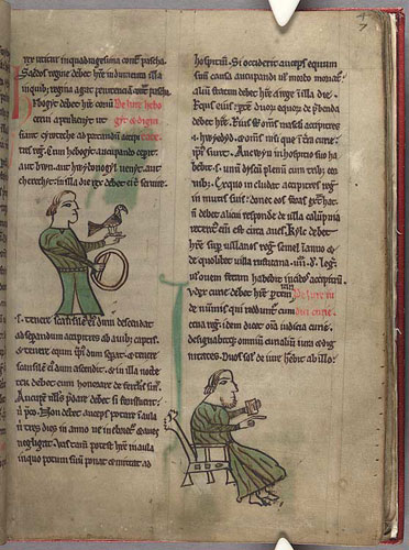The court judge as depicted in a Latin text of the Laws of Hywel Dda, Peniarth MS 28, f. 4r
