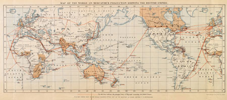 Map of the World on Mercator's projection showing the British Empire, Waterlow & Sons ca. 1910
