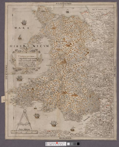 Saxton's proof map of Wales, 1580