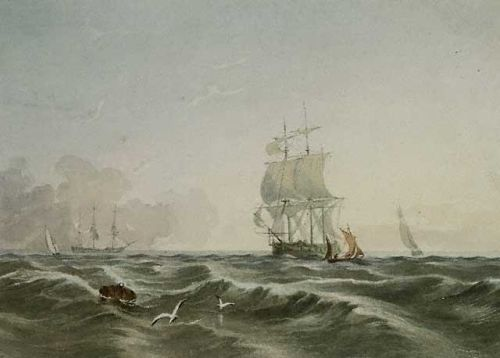 Lady Mary Leighton, [Seascape with ships.] [ca. 1830-1840]. PB09274.