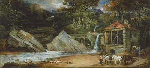 'An overshot mill in Wales' (Aberdulais), 1847 by James Ward