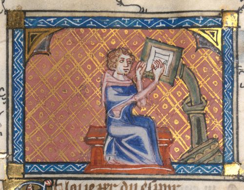 Author writing at his desk, Roman de la rose, f. 28